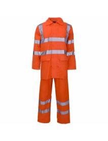 Hi Vis Orange Polyester / PVC Rainsuit