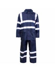 Hi Vis Blue Polyester / PVC Rainsuit
