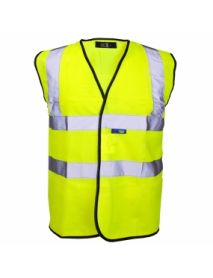 High Vis Yellow Vest - Black Binding