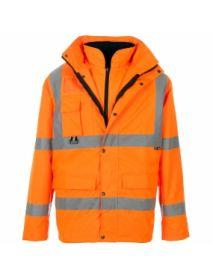 High Vis Orange Breathable 4 in 1 Parka Jacket