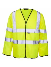 High Vis Long Sleeved Vest - Yellow with Black Binding