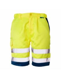 High Vis Yellow / Navy Hem Shorts