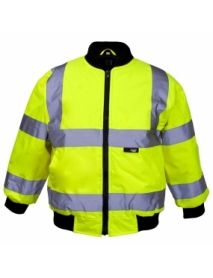 High Vis Junior Yellow Bomber Jacket - Knit Collar. Aged 7-9 years