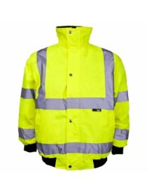 High Vis Junior Yellow Bomber Jacket - Storm Collar. Aged 7-9 years