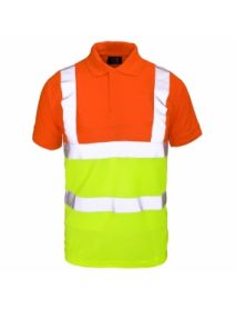 High Vis 2 Tone Polo Shirt - Orange Top / Yellow Bottom
