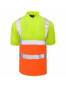 High Vis 2 Tone Polo Shirt - Yellow Top / Orange Bottom