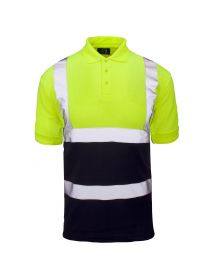 High Vis 2 Tone Polo Shirt - Yellow Top / Navy Bottom