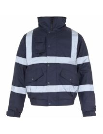 Security Bomber Jacket with Tape - Navy Blue