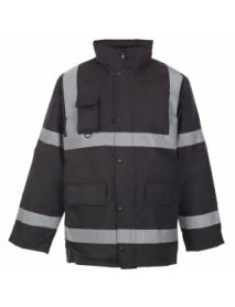 Security Parka Jacket with Tape - Black