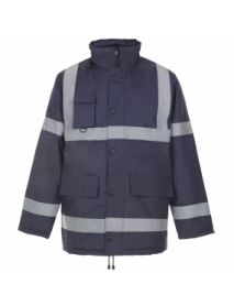 Security Parka Jacket with Tape - Navy Blue