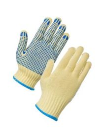 Dot Drill Gloves - White Nylon / Blue Polka Dot
